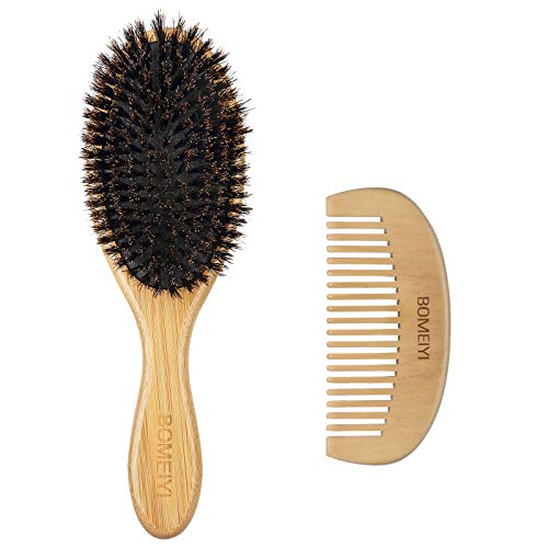BOMEIYI 100% Boar Bristle Hair Brush Set,Soft Natural Bristles for Thin and Fine Hair,Makes Hair Shiny and Improves Hair Texture Straightening Styling, Wooden Comb and Travel Bag Included.