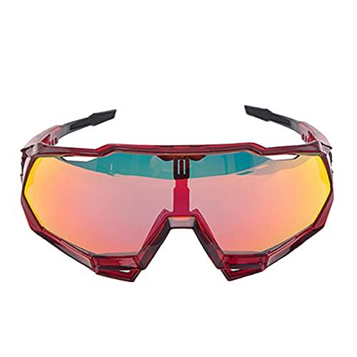Zhixing Gafas Deportivas al Aire Libre Gafas para Montar en Bicicleta Gafas de Sol con protección Ocular para Motocicleta de Marco Completo,Transparent Red,A