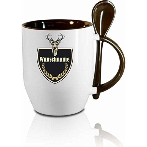 Creativ Deluxe Tasse m. Löffel Jägertasse (Wunschname) Löffeltasse, Kaffeetasse mit Motiv,Bürotasse, Bedruckte Tasse mit Sprüchen oder Bildern - auch individuelle Gestaltung nach Kundenwunsch