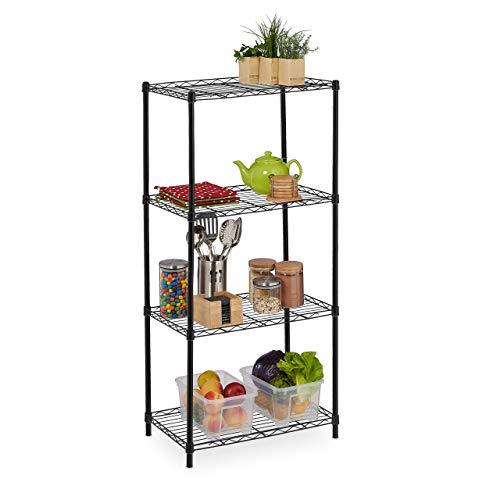 Relaxdays Metallregal, Küche, Bad und mehr, 4 Ablagen, HxBxT: 120 x 56 x 34 cm, 30 kg Traglast, Küchenregal, schwarz