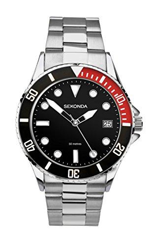 Sekonda Herren Analog Quarz Uhr mit Edelstahl Armband 3078