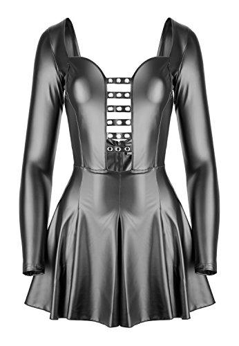 Noir Handmade Damen Minikleid im Wetlook S-36