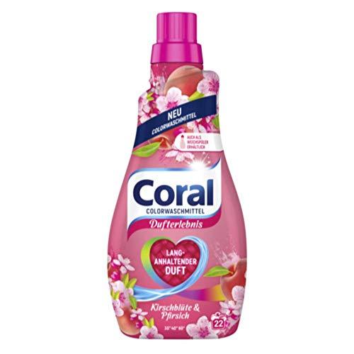 Coral Dufterlebnis Colorwaschmittel Kirschblüte & Pfirsich (Flüssigwaschmittel für bunte Wäsche mit langanhaltendem Duft 22 WL), 1 Stück (1 x 1100 ml)