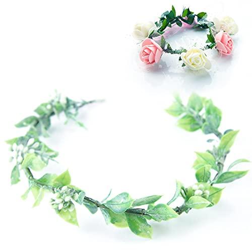 QUACOWW Corona de flores para el pelo, corona de flores artificiales, corona de novia Greenery para bodas, ceremonias, fiestas, festivales, pulsera