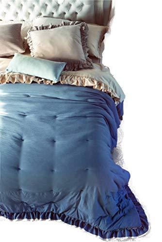 BLANC MARICLO' Copriletto azzurro matrimoniale con gala 260x260 cm A2950299CZ