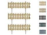 Floranica® Gartenzaun | 3 STK | 103cm | Höhe 29,5/37cm | Unbehandelt | Kiefer | Steckzaun mit Metallstäben | Zaun für Beete, Gemüsebeete, Wegeinfassungen | Dekorative Gartenpalisade
