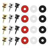 matogle 6 set manopola di blocco cinturino in metallo rame bottone silicone cinghia attacco per chitarra vite di fissaggio tracolla per cintura strumento musicale cordino per ukulele chitarra