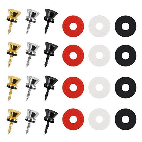 Matogle 6 Sets Cerraduras para correa de guitarra Kits de botones que incluyen bloques de metal Pasadores de botón con arandela de silicona para la mayoría de las guitarras