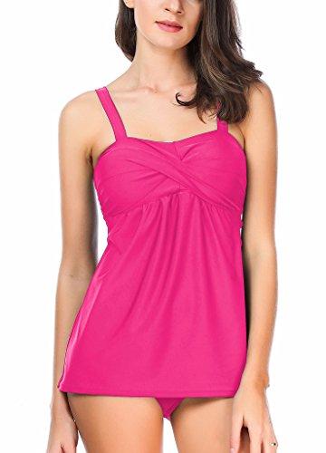 VERABENDI Summer Two Pieces Tankini Top and Triangle Plus Size Swimsuit Pink L