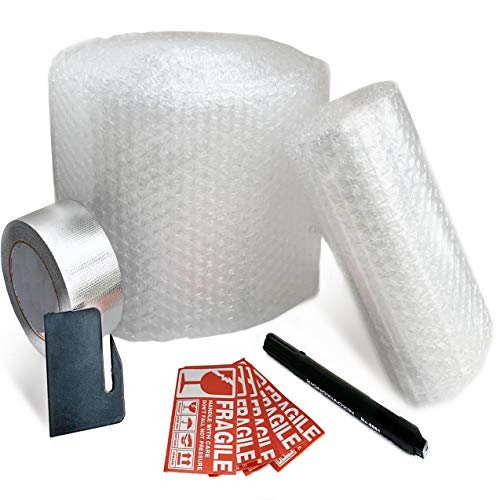 Packaging Bubble wrap Rolls Perforated for Moving kit with Box - Adhesive Tape - Safety Knife - Fragile Stickers - Set to Easy Pack and Moving