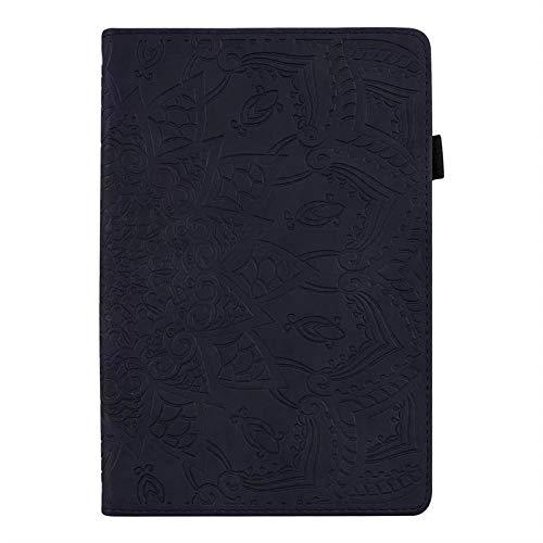 YYLKKB para Samsung Galaxy Tab A 6 2016 10.1 Pulgadas de Flores en Relieve en Relieve de la Tableta de la Tableta del Soporte de la Cubierta de la Tableta para Funda Samsung SM T580 T585-Negro_