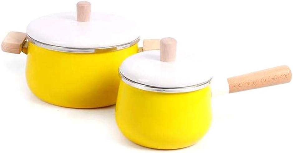 LIUSHI Marmites émail antiadhésif Casserole à Lait thé café Oeuf Casserole poignée en Bois Grande capacité avec Couvercle (Pot à Lait Jaune) Yellow Soup Pot
