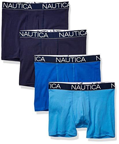 Nautica Men's Cotton Stretch 4 Pack Boxer Brief, Peacoat/Sea Cobalt/aero Blue, Small