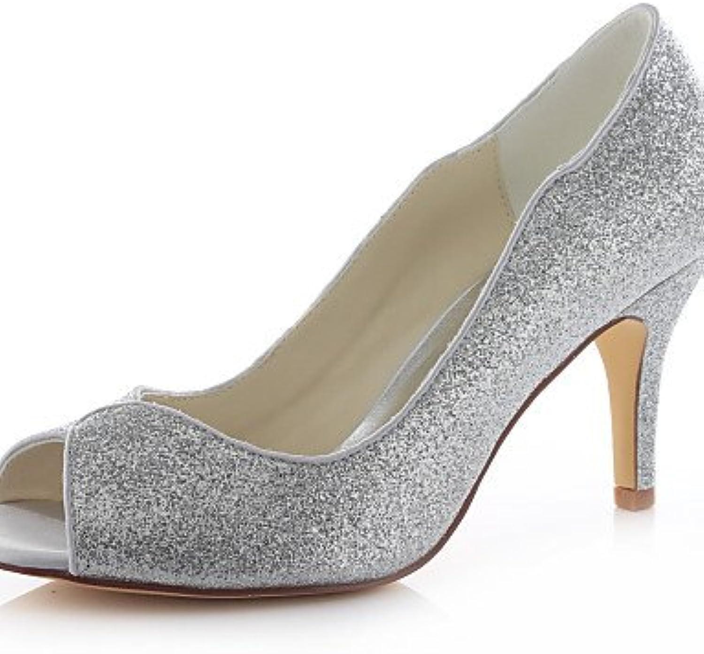 BGYHU GGX Damen Schuhe Glitter Stiletto Heel Heels Sandalen Sandalen Sandalen Hochzeit Party & Abend Kleid Silber  99a6c4