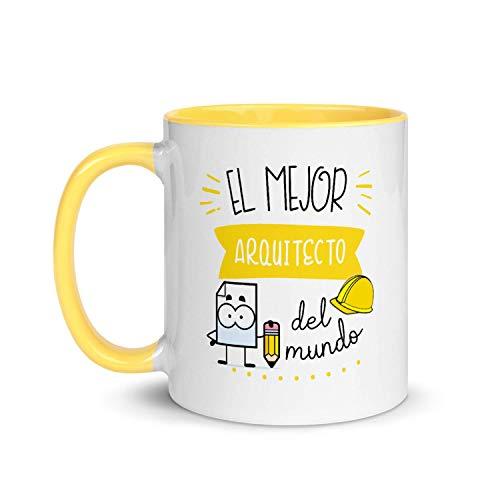 Kembilove Taza de Desayuno del Mejor Arquitecto del Mundo – Tazas de Café de Profesiones y Trabajadores para la Oficina – Tazas de Té de Color para Profesionales – Taza de Cerámica de 350 Ml