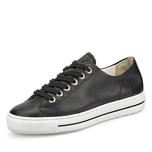 Paul Green 4704 Damen Sneaker Low aus Glattleder mit Lederinnensohle schwarz, Groesse 38, schwarz