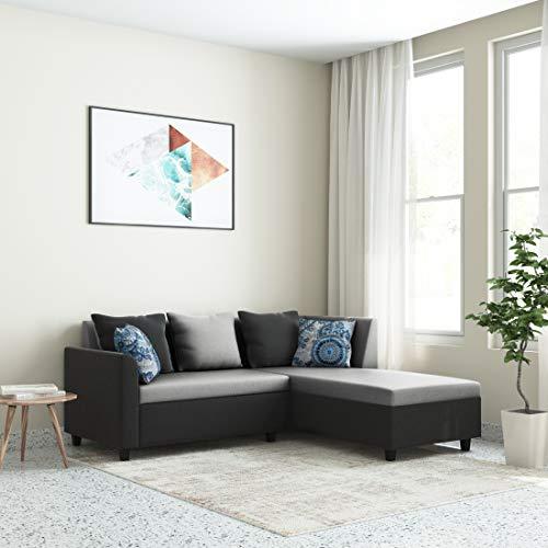 Amazon Brand - Solimo Lunaria Fabric 5 Seater RHS L Shape Sofa (Grey & Black)