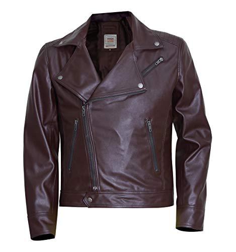 Chaqueta de piel auténtica estilo clásico para motociclista, estilo vintage, para motociclista - marrón - X-Large