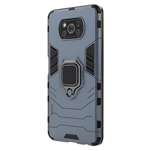 MAGFUN Armadura de la Caja del TeléFono Duro para Poco X3 NFC Soporte de Anillo de SuccióN MagnéTico Cubierta de Borde Completo para el Caso Poco X3 Azul Marino