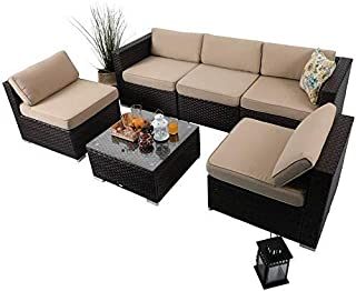 PHI VILLA Outdoor Rattan Sectional Sofa- Patio Wicker Furniture Set 6-Piece Beige