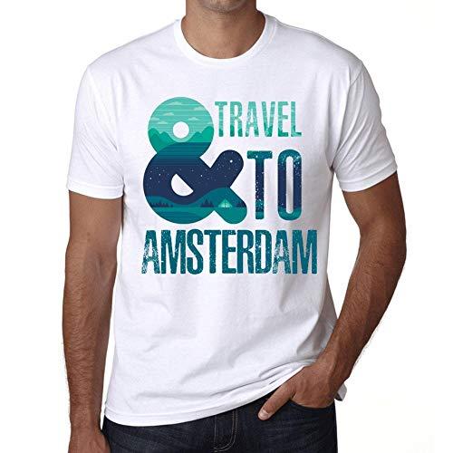 Hombre Camiseta Vintage T-Shirt Gráfico and Travel To Amsterdam Blanco