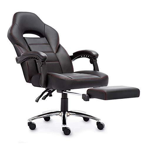 Sedia Gaming, Poltrona da Ufficio con Disegno Ergonomico Poggiapiedi , Reclinabile Comodo Sedia da Ufficio Sedie gaming per studio ( nero)