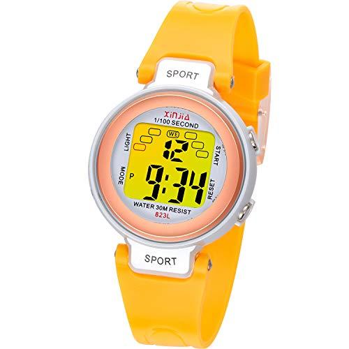 Reloj Digital para niños, 7 Colores de luz LED, Reloj de Pulsera Deportivo para niños, Resistente al Agua, Reloj Infantil con Alarma, cronómetro para niños para Actividades (Oro Rosa Amarillo)