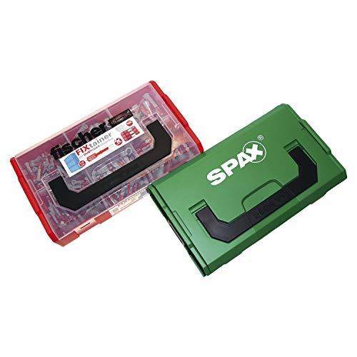 Secotec 118500218 Fischer SPAX - Juego de tacos y tornillos, color rojo y verde