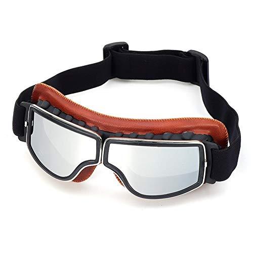 Goggle Gafas de moto retro vintage Gafas de protección UV Cafe Racer Flying Eyewear Gafas Accesorios (Color : Silver)