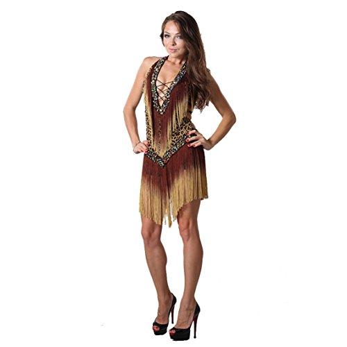 Best Dance Damen-Kleid mit Leopardenmuster, Bauchtanz lateinamerikanischer Tanz, Salsa, Tango, Cha-Cha-Cha, Gesellschaftstanz, Flamenco Gr. Einheitsgröße, braun