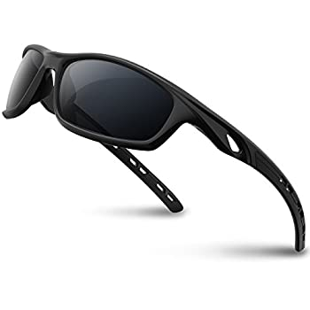 RIVBOS Mens Sunglasses Polarized UV Protection TR90 Unbreakable Frame Sports Driving Fishing Cycling RB833-black&Black