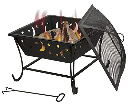 Auoeer Large Fire Pit, Black Cast Iron Brazier Heater, Multifunctional Camping Bowl BBQ, For Indoor Outdoor Garden Patio Grill Wood Charcoal