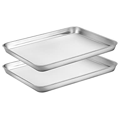 HKJ Chef Baking Sheets Set Cookie Sheets 2 Pieces & Stainless Steel Baking Pans & Toaster Oven Tray Pans & Rectangle Size 12L x 10W x 1H inch & Non Toxic & Healthy & Easy Clean