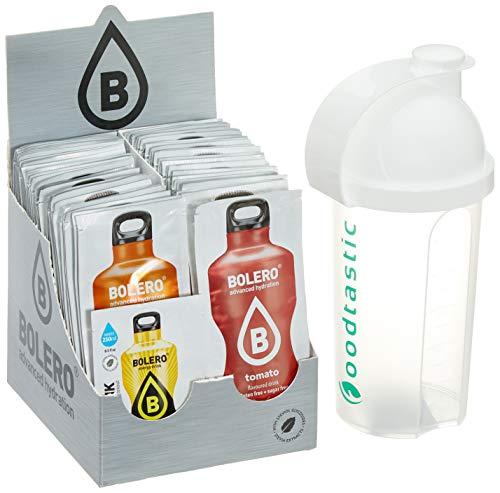 Bolero Kennenlernpaket mit allen 58 Sorten + Foodtastic Shaker 500ml I zuckerfreies Getränkepulver mit Stevia gesüßt I Mixbox zum Testen aller Geschmäcker