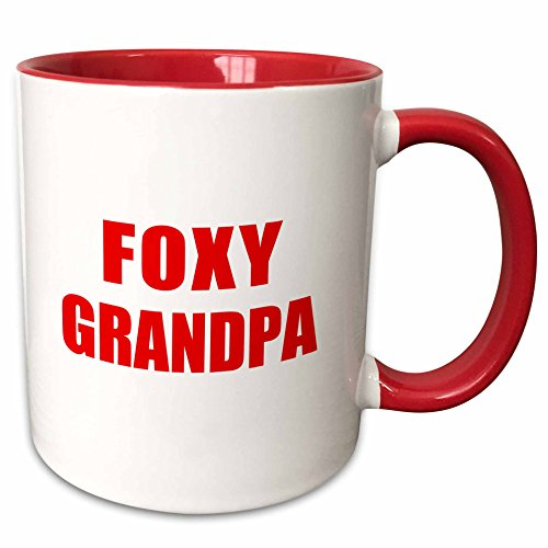3dRose Foxy Grandpa-Funny Red Text Design for a Cool Hot Grandfather-Two...