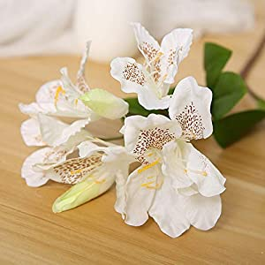 ShineBear 8 Heads Silk Rhododendron Flower Artificial Single Branch Flower Pastoral Fresh Style Wedding Decoration Home Party Hotel 1pcs – (Color: White)
