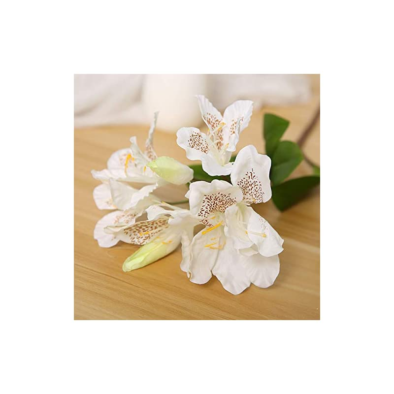 silk flower arrangements shinebear 8 heads silk rhododendron flower artificial single branch flower pastoral fresh style wedding decoration home party hotel 1pcs - (color: white)
