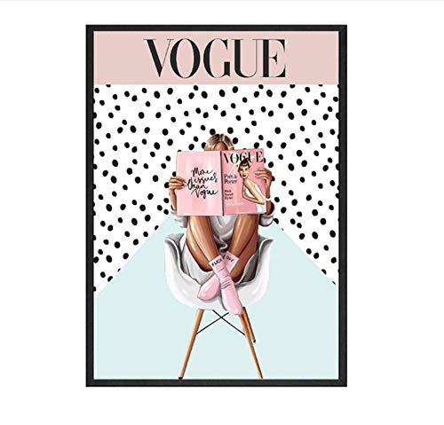 Bdwdhj Bilder,Poster,Wandbild,Nordic Poster Und Drucke Wandbilder, Vogue Style Mädchen Wandkunst Leinwand Gemälde An Der Wand, Für Wohnzimmer Dekor Frame-60X80Cm