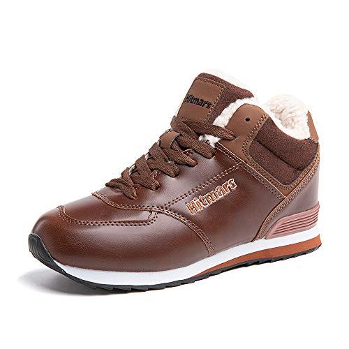 Botas de Invierno Mujer Hombre Zapatos de Nieve Forradas Planas Sneaker Tobillo Calzado Cordones Comodos Snow Boots Negro Azul Marrón Número 35-50 EU