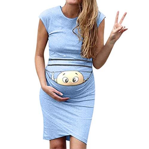 Baby Lächelndes Gesicht Print Umstandskleider Damen Mutterschafts Kleid Umstands Kleid Stillkleid Umstandskleid Maternity Kleid Umstandsmode Günstig Schwangerschaftskleid Kurzarm Sommerkleider