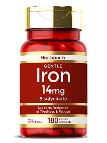 Gentle Iron Bisglycinate 14mg | 180 Vegan Tablets | Immune Support, Reduces Tiredness & Fatigue | Non-GMO, Gluten Free Supplement