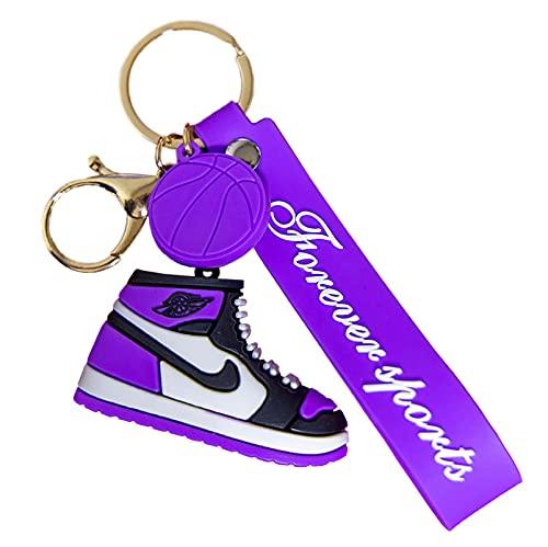 QLma (3 piezas Llavero de zapatilla de deporte, gancho para mochila de viajero, llavero para bolso y cinturón Accesorios Mochila Accesorios colgantes de moda S morado