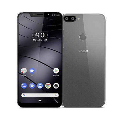 """Gigaset GS195 Smartphone ohne Vertrag mit 2GB Arbeitsspeicher Made in Germany - Handy mit 6,18"""" V-Notch Display, Gesichtserkennung, Dual-SIM, 32GB Speicher, 4000 mAh Akku, Titanium Grey"""