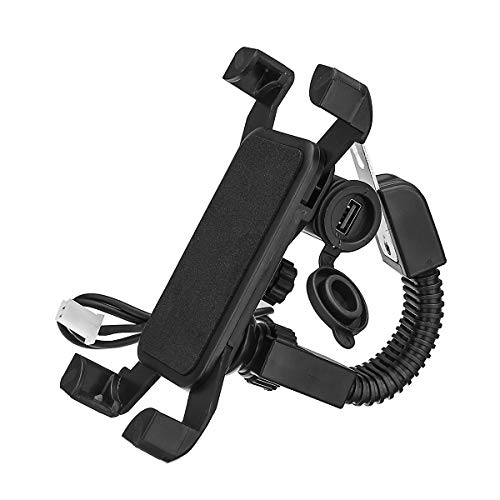 Wooya 3.5-6Inch Mobile Phone Holder Bracket USB Charger Motorcycle Mirror Mount