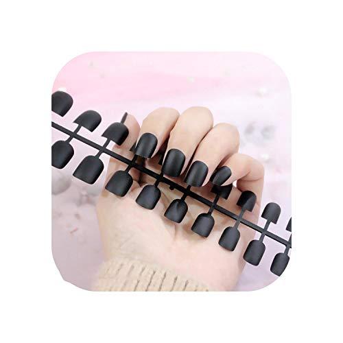 Nail Factory 24 pcs Givré Mat Ongles Pour Les Femmes Couleur Unie Faux Ongles Pleine Couverture Court Faux Conseils Ongles Artificiels-TJP720-Y1-