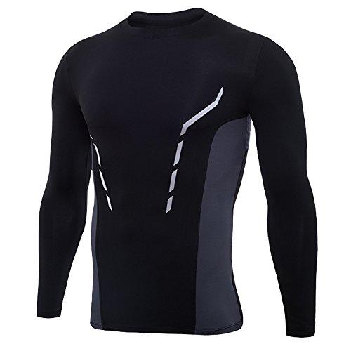 Rmine Herren Kompressionsshirt Schnell Trocknend Lauf Fitness Sport T-Shirt Gr. M-3XL (Schwarz grau, M)