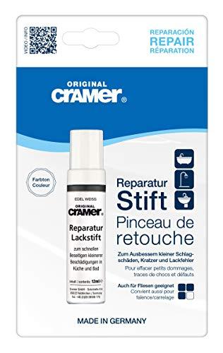 Cramer 15010DE Reparatur-Lackstift Email, Acryl, Keramik, edelweiß matt - Sanitärlack zum Ausbessern kleinerer Schäden an Badewannen, Duschwannen, Waschbecken und Fliesen
