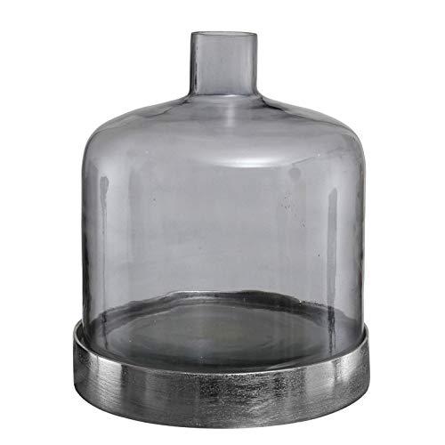 PTMD decoratieve vaas jake van glas grijs met aluminium onderzetter - Afmetingen: 15.0 x 15.0 x 15.0 cm