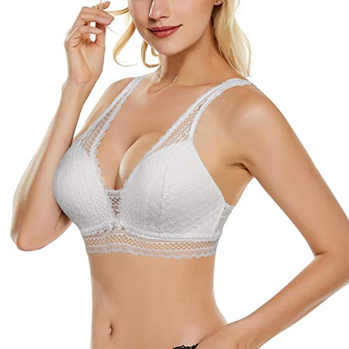BRABIC Women Lace Bra Padded Plus Bralette Wirefree Deep V Plunge Push Up Bra, Comfortable A-D Thin Mold Cup (White, S)