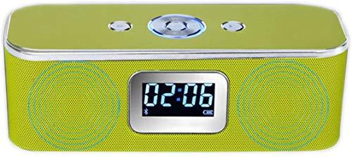 XY-M Bluetooth Reloj Despertador Altavoz Externo Hi-Fi portátil de cabecera llevó el Reloj, reproducción de Voz Manos Libres LCD Despertador LCD Controles Smart Touch, Verde,Verde